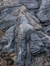 Close-up Solidified Magma Rivers Of The Volcano Fagradalsfjall In Iceland On A Cloudy Day