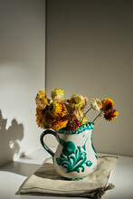 Bouquet Of Fresh Strawflowers In Ceramic Pitcher Placed On Table In Room With Sunlight