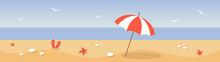 Summer Landscape. Flat Lay Of Beach. Summer Banner. Beach Umbrella On The Seaside.