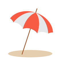 Beach Umbrella Isolated On White Background In Flat Style.