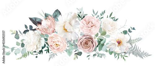 Stampa su Tela Pale pink camellia, dusty rose, ivory white peony, blush protea, nude pink ranun