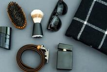 Mens Flat Lay: Fashionable Black Candle, Mens Perfume, Black Scarf And Shaving Cosmetics