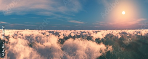 Fotografía Clouds top view, clouds from a height of flight, panorama of clouds, sunset abov
