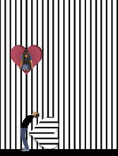 A Girl Looks Out From A Heart Shaped Opening In A Wall To See Below Is A Boy Looking Up At Her In This 3-D Illustration About Romance And Love. Modern Day Romeo And Juliet.