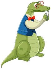 Nerdy Crocodile Cartoon Character Isolated On White Background