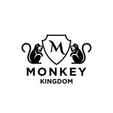Premium Minimalism Monkey Kingdom With Initial Letter M Vector Logo Icon Illustration Design Isolated Background