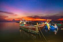 Fishing Boats At Sunset
