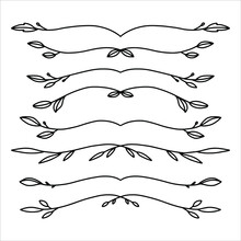 Set Of Hand Drawn Floral Elements Isolated On White Background. Outline Branches For Books, Greeting Cards, Invitations, Web. Doodle Style.