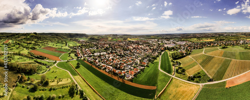Canvas Panorama Luftaufnahmen von Pfedelbach mit der Drohne