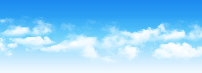 Sunny day background, blue sky with white cumulus clouds, natural summer or spring background with perfect hot day weather, vector illustration.