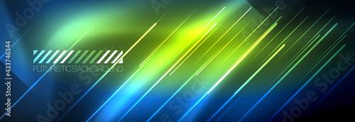 Valokuvatapetti Neon glowing lines, magic energy and light motion background