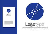 Blue CD Or DVD Disk Icon Isolated On White Background. Compact Disc Sign. Logo Design Template Element. Vector