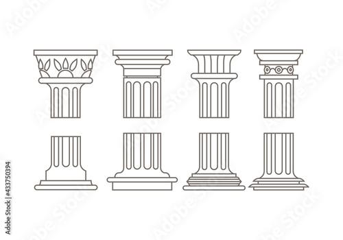 Fototapeta set of roman column vector