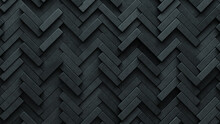 Herringbone, Futuristic Wall Background With Tiles. Concrete, Tile Wallpaper With 3D, Polished Blocks. 3D Render