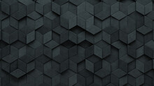 3D, Concrete Wall Background With Tiles. Diamond Shaped, Tile Wallpaper With Polished, Futuristic Blocks. 3D Render