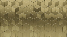 Polished, 3D Wall Background With Tiles. Diamond Shaped, Tile Wallpaper With Luxurious, Gold Blocks. 3D Render
