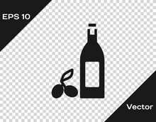Black Bottle Of Olive Oil Icon Isolated On Transparent Background. Jug With Olive Oil Icon. Vector