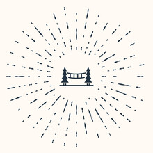 Grey Capilano Suspension Bridge In Vancouver, Canada Icon Isolated On Beige Background. Abstract Circle Random Dots. Vector