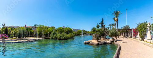 Canvastavla Panoramic view of the beautiful lake in the center of the city in the Parque de las Naciones in the town of Torrevieja, Alicante, Mediterranean Sea