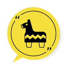 Black Pinata Icon Isolated On White Background. Mexican Traditional Birthday Toy. Yellow Speech Bubble Symbol. Vector