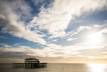 Silhouette Of The Old Burnt Down Pier In Brighton, United Kingdom