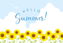 Summer Vector Background With Sunflowers And Sky For Banners, Cards, Flyers, Social Media Wallpapers, Etc.