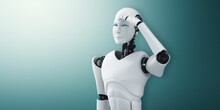 Standing Humanoid Robot Looking Forward On Clean Background 3D Illustration