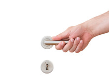 Hand Holding A Door Handle On Isolated White Background