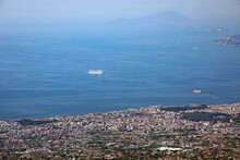 Gulf Of The City Of Naples With A Cruise Ship Seen From The Volcano Vesuvius