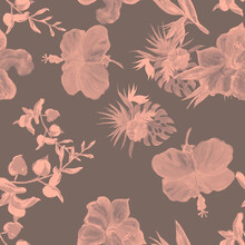 Gray Hibiscus Textile. Brown Flower Garden. Coral Seamless Foliage. Watercolor Texture. Pattern Plant. Pink Tropical Set. Exotic Plant. Art Background.