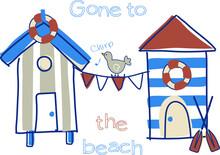Beach Huts Vector Print Design For Kids