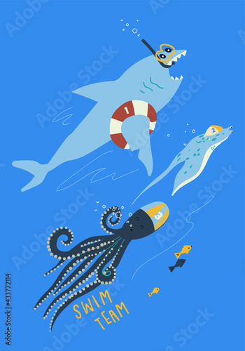 Fotografie, Obraz Sea creatures vector print design for kids