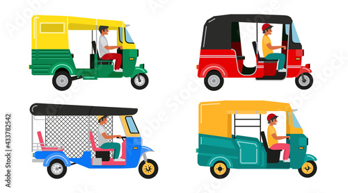 Fotografia Set Indian motor rickshaw car. Asian tuk tuk. Vector illustration
