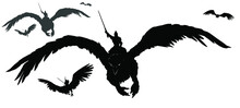 A Black Silhouette Of An Army Of Warriors Flying On Griffins Into Battle With Swords At The Ready. 2d Illustration