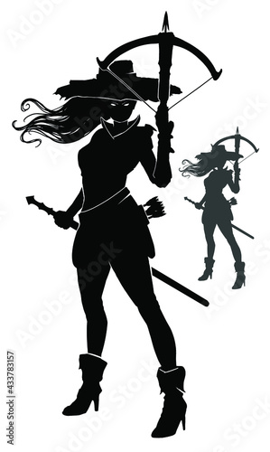 Canvas The black silhouette of a vampire hunter girl, she stands in a big hat, her hair fluttering in the wind, she holds a crossbow and a sword at the ready