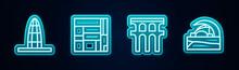 Set Line Agbar Tower, House Edificio Mirador, Aqueduct Of Segovia And Concert Hall De Tenerife. Glowing Neon Icon. Vector