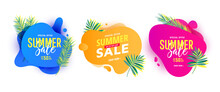 Trendy Liquid Abstract Geometric Bubble With Green Tropical Palm Leaves. Summer Banner Pack
