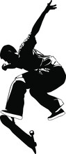 Silhouette Of A Young Man Performing A Trick On A Skateboard Vector Illustration