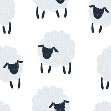 Seamless Pattern With Cute Blue Sheep On A White Background. Vector Illustration For Printing On Fabric, Packaging Paper, Postcard, Poster. Cute Baby Background