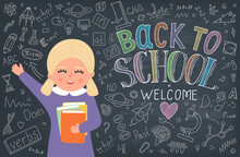 Back To School. School Girl With Book And Chalk Drawn Lettering With Education Doodle On Blackboard.