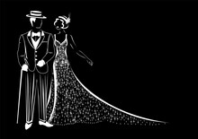 Beautiful Couple In Retro Evening Clothes 1920. Vector Silhouette Of A Man And A Woman In Vintage Style Drawn By Lines For Decorating A Flyer, Postcard Or Label