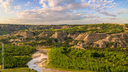River Bend Overlook view of the cliffs along the Little Missouri River in the Theodore Roosevelt National Park - North Unit - North Dakota Badlands