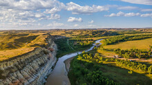 Early Morning View From Sully Creek State Park - Whitetail Flats Campground - Little Missouri River  - Near Medora And Theodore Roosevelt National Park - Badlands