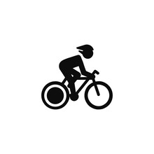 Bicycle Icon. Bicycle Race Symbol. Cycling Race Flat Icon. Cyclist Sign.