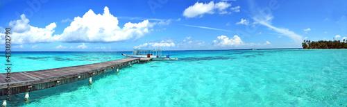 Obraz na plátne Panorama Blick, Trauminsel - Malediven  Paradies im Indischen Ozean, türkis-blau