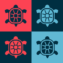 Pop Art Turtle Icon Isolated On Color Background. Vector
