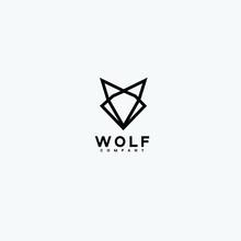 Abstract Luxury Wolf Head Vector Monogram Logo Design Template