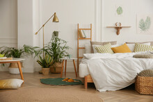 Modern Bedroom With Beautiful Fresh House Plants
