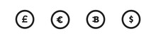 Different Coins Icon On White Background. Vector Dollar Euro Bitcoin Symbol.