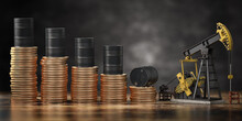 Oil Pump Jack And Barrels On Stacks Of Coins. Decrease Of Price Of Crude Oil Or Oil Explorati Concept. Stock Market Of Crude Oil, Investment.